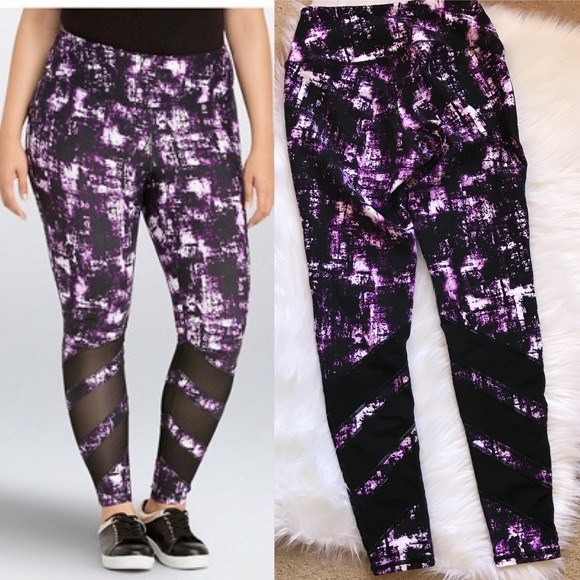 dc2459144e72a0 Torrid Active Purple Sketch Mesh Leggings Size 0. M_5ade93875512fdbe3ab84f96